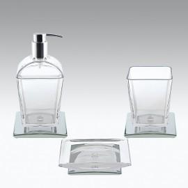 Set 3 pezzi oggetti da appoggio TILDA cromo e trasparente.