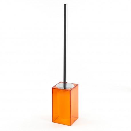 Scopino a terra Gigi finitura arancio, manico in ottone cromato