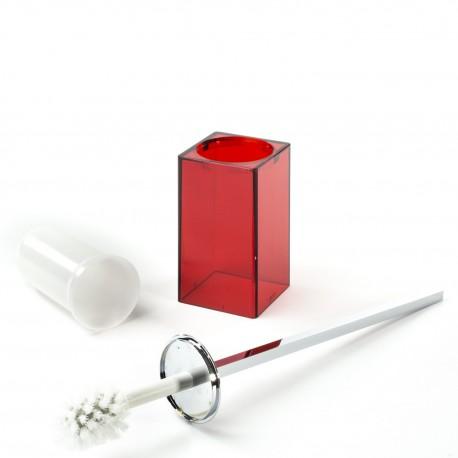 Scopino a terra Gigi finitura rosso, manico in ottone cromato