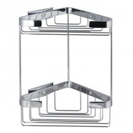 Cestino bagno contenitore angolare doppio Lem 2.0 cromo tassello.