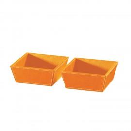 Coppia vaschette porta oggetti ECOPELLE. Arancio