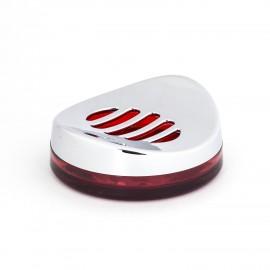 Porta sapone da appoggio cromo/rosso trasparente Skatto.