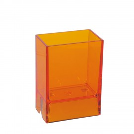Bicchiere porta spazzolini da denti da muro Lem arancio trasparente.