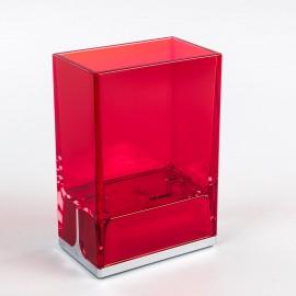 Bicchieri porta spazzolini da denti da appoggio Lem rosso trasparente.