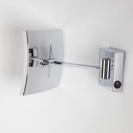 Specchio ingranditore x3 quadrato da parete cromo .1 Braccio, Illuminazione a LED. Alimentazione diretta a parete