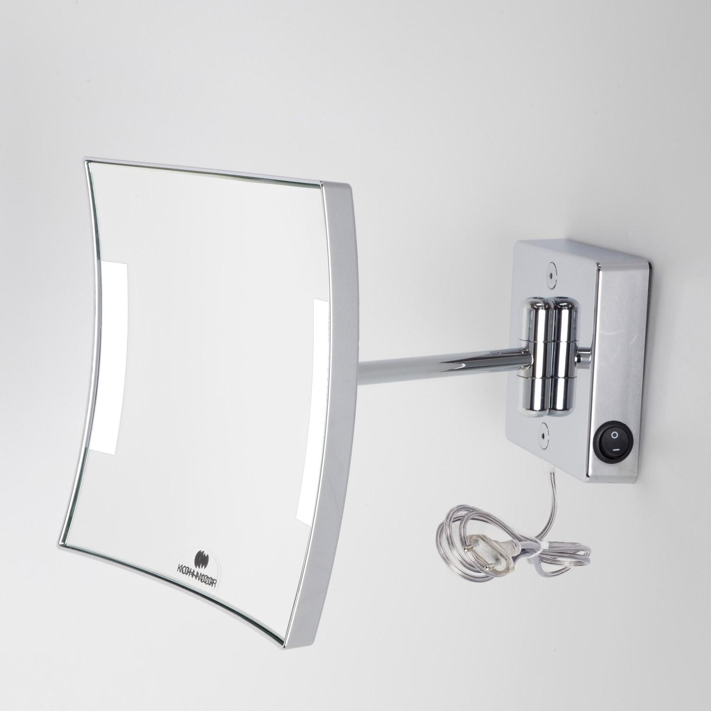 Specchio ingranditore x3 quadrato da parete cromo 1 braccio illuminazione a led alimentazione - Specchio ingranditore bagno ...
