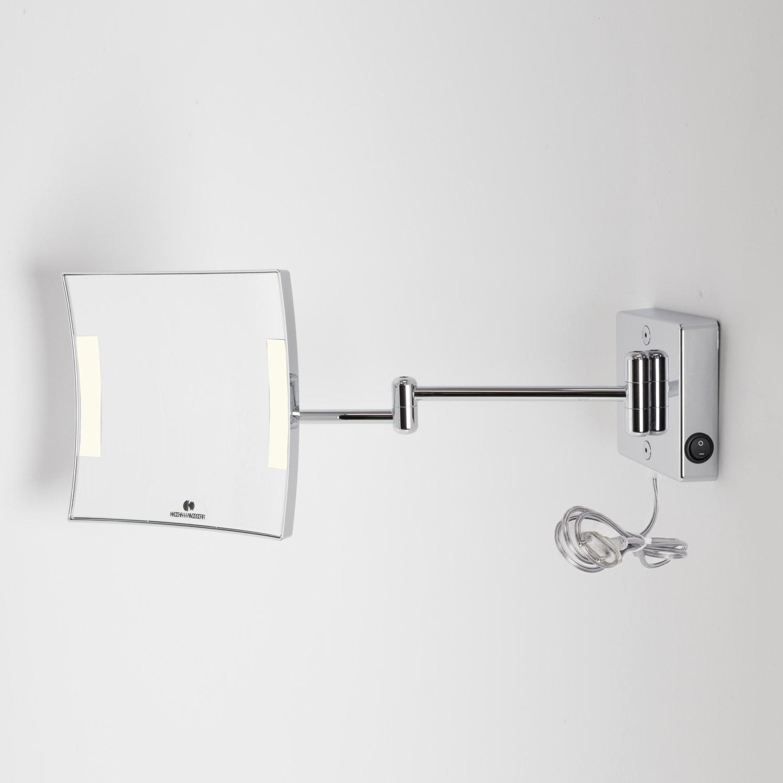Porta Phon Da Tavolo.Specchio Ingranditore X3 Quadrato Da Parete Cromo 2 Braccia Illuminazione A Led Alimentazione Esterna Con Spina