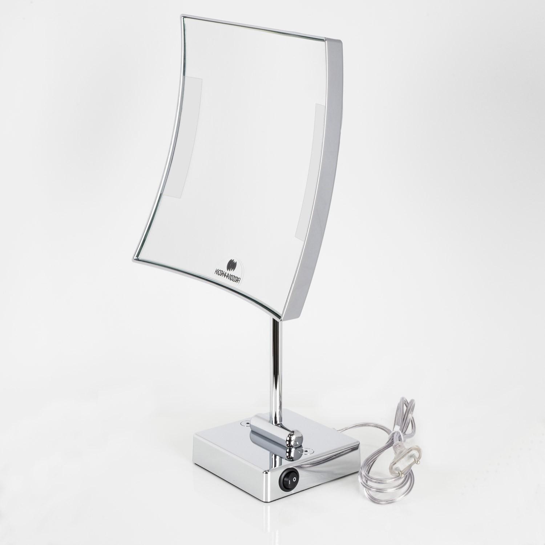 Specchio ingranditore da tavolo cromo con illuminazione - Specchio da tavolo ...