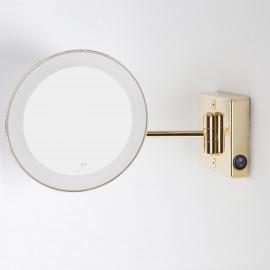 Specchio ingranditore rotondo color oro