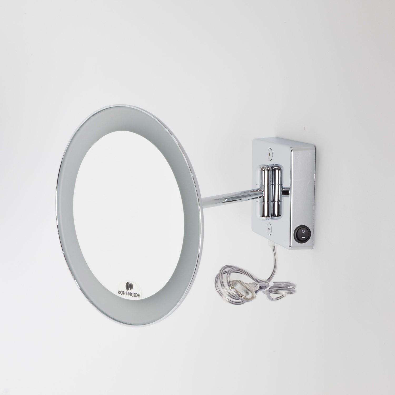 Specchio ingranditore x2 tondo da parete cromo 23 1 braccio illuminazione a led alimentazione - Specchio tondo da parete ...