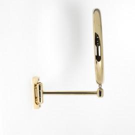 Specchio ingranditore x3 tondo bifacciale da muro oro Ø23. Con 1 braccio.