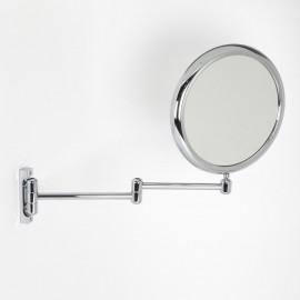 Specchio ingranditore x2 tondo bifacciale da muro cromo Ø23. Con due braccia.