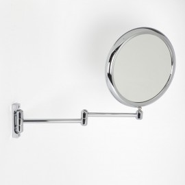 Specchio ingranditore x3  tondo bifacciale da muro cromoØ23. Con due braccia.
