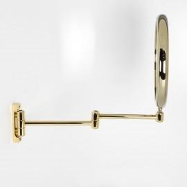 Specchio ingranditore x2  tondo bifacciale da muro oro Ø23. Con due braccia.