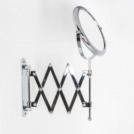 Specchio ingranditore x6 tondo bifacciale da muro cromo Ø18. Con braccio estensibile.