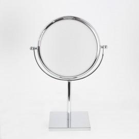 Specchio ingranditore x6 bifacciale tondo da tavolo cromo Ø18.