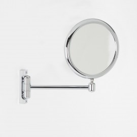 Specchio ingranditore x2 tondo bifacciale da muro cromo Ø18. Con un braccio.