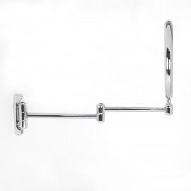 Specchio ingranditore x6 tondo bifacciale da muro cromo Ø18. Con 2 braccia.