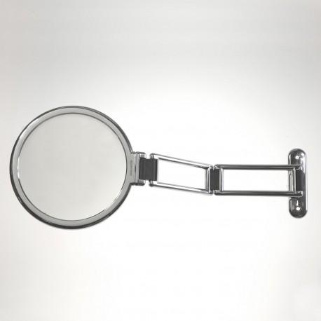 Specchio da muro cromato bifacciale, con ingrandimento. ø18cm.