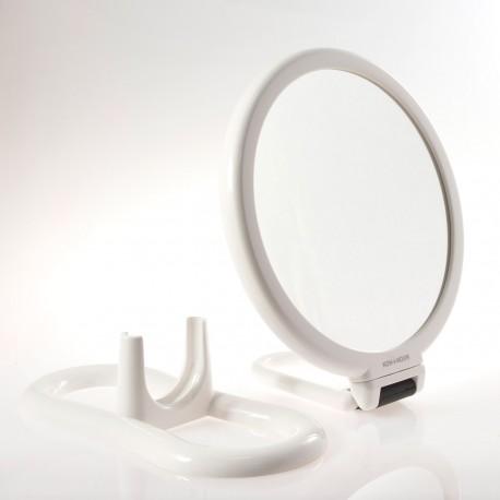 Specchio bianco bifacciale con ingrandimento, manico pieghevole e supporto da tavolo. ø18cm.