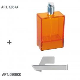 Dispenser sapone da muro Lem arancio trasparente.
