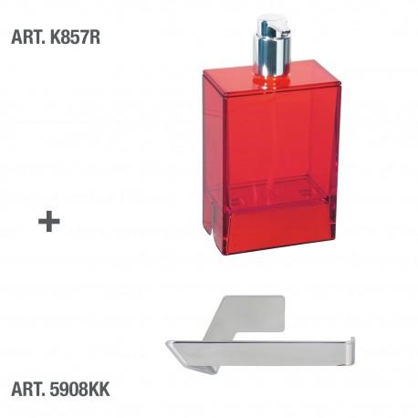 Dispenser sapone da muro rosso trasparente.