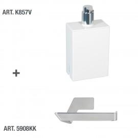 Dispenser sapone da muro Lem bianco.