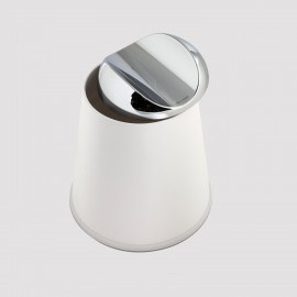 Gettacarta CARLINO con coperchio girevole. Coperchio cromo e corpo bianco.