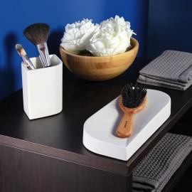 VELA Bicchiere porta spazzolini in ceramica. Colore bianco.