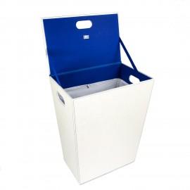 Porta biancheria grande Ecopelle. Colore bianco/blu.