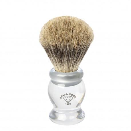 Pennello da barba in tasso I° ø21,5 manico colore trasparente