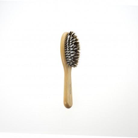 Spazzola pneumatica ovale piccola in legno con ciuffo misto setola-nylon