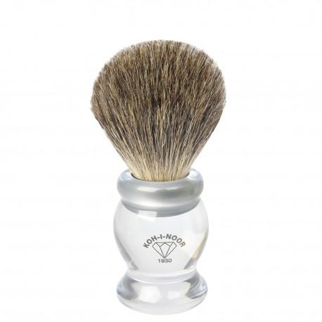 Pennello da barba in tasso grigio Ø21,5 trasparente.