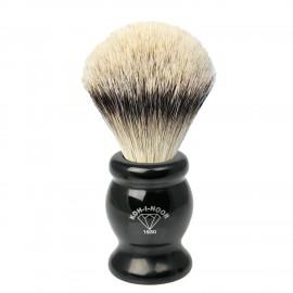 Pennello da barba in tasso argentato ø22,5 manico colore nero