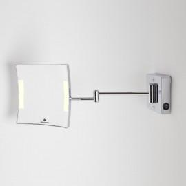 Specchio ingranditore x3 tondo da parete cromo .2 Braccia, Illuminazione a LED. Alimentazione diretta a parete