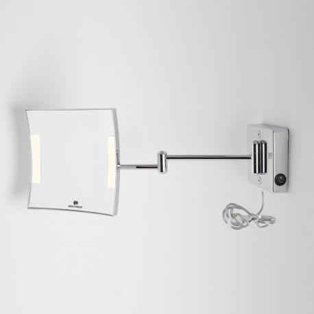 Specchio Ingranditore Da Bagno.Specchio Ingranditore X3 Quadrato Da Parete Cromo 2 Braccia Illuminazione A Led Alimentazione Esterna Con Spina