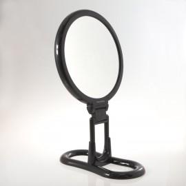 Specchio bifacciale con ingrandimento x 3, manico pieghevole e supporto da tavolo. Ø18cm.Colore nero