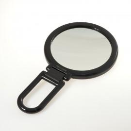 Specchio bifacciale con ingrandimento, manico pieghevole.Ingrandimento x3 Ø14cm.Colore nero.