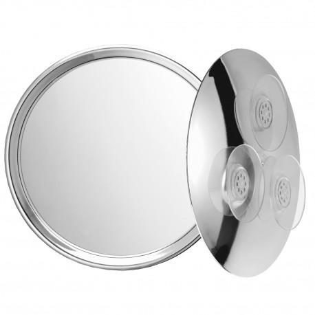 Specchio ingranditore cromato con 3 ventosa. ø23cm.