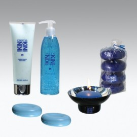 Set BENESSERE KIN: Sapone liquido 300ml, 2 saponette 100gr, crema idratante 250ml e candele profumate.