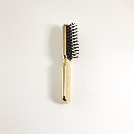Spazzola da testa rettangolare con riccio stampato, resistente al phon. Colore oro.