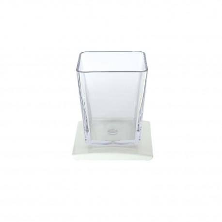 Set 3 pezzi oggetti da appoggio TILDA bianco e trasparente.