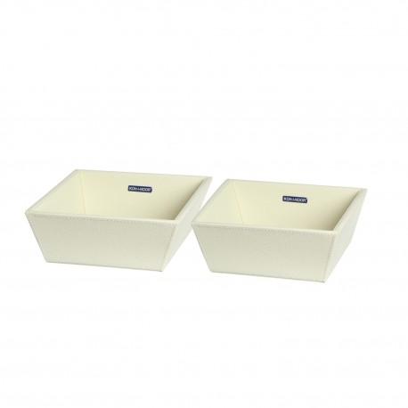 Coppia vaschette porta oggetti ECOPELLE. Crema