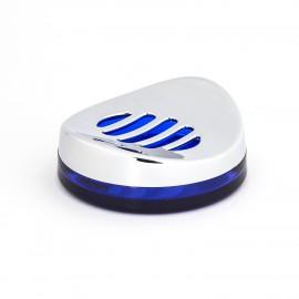 Porta sapone da appoggio cromo/blu trasparente Skatto.