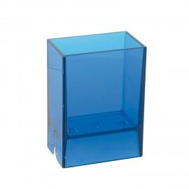 Bicchiere porta spazzolini da denti da muro Lem blu trasparente.