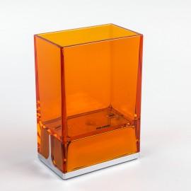 Bicchieri porta spazzolini da denti da appoggio Lem arancio trasparente.