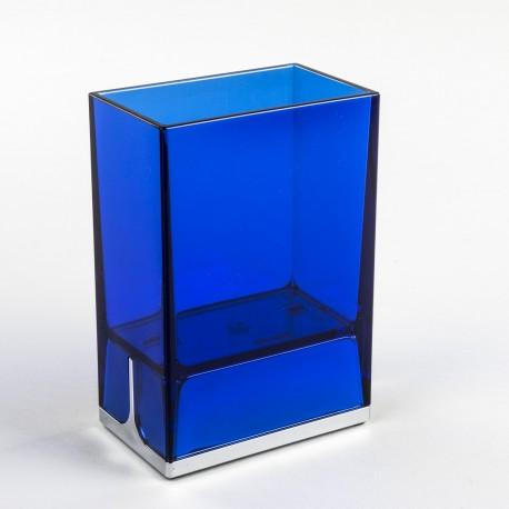 Bicchieri porta spazzolini da denti da appoggio Lem blu trasparente.