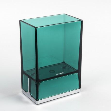 Bicchieri porta spazzolini da denti da appoggio Lem verde trasparente.