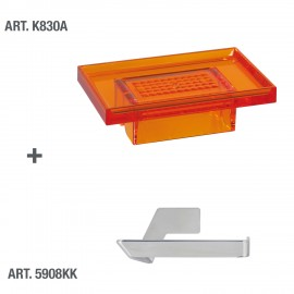 Porta carta igienica/supporto accessori Lavì cromo incollo.