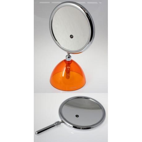 Specchio bifacciale con manico e supporto. Ø18cm. Ingrandimento x3